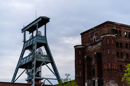 Old mine tower with destroyed building of zeche ewald recklinghausen germany