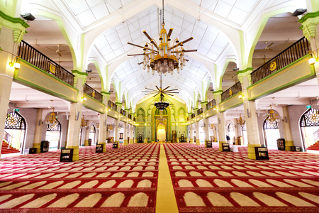 singapore culture: This image shows the Interior of the Sultan Mosque in Singapore Editorial