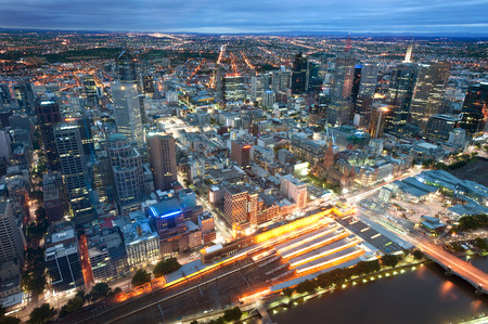 melbourne: This image shows Melbourne, Australia at night
