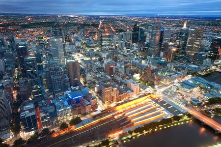 melbourne australia: This image shows Melbourne, Australia at night