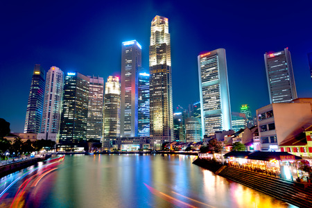 This image shows boat quay in Singapore