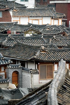 This image shows the rooftops of Bukchon Hanok Village, Seoul, South Korea Stok Fotoğraf