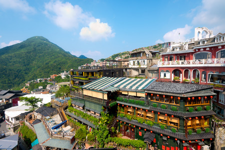 This image shows the hillside teahouses of Juifen, Taiwan,