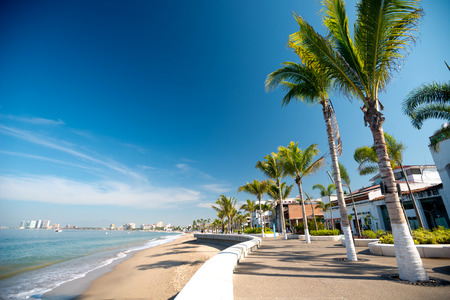 puerto: This image shows the malecon in Puerto Vallarta, Jalisco, Mexico