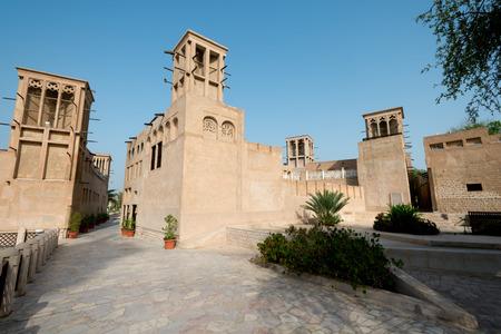 bastakiya: This image shows the Bastakiya Quarter Architecture in the UAE Stock Photo