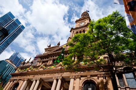town halls: This image shows Town Hall in Sydney, Australia Stock Photo