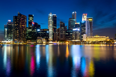 This image shows Singapores skyline at night.