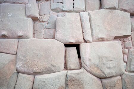 cusco: This image shows Inca Masonry  in the town of Cusco, Peru Stock Photo