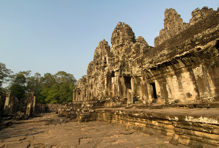 angor: This image shows the Bayon temple, Angor Stock Photo