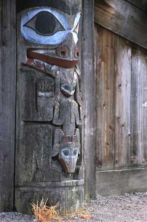 northwest indian art: This image shows a Totem Pole (Vancouver, Canada)
