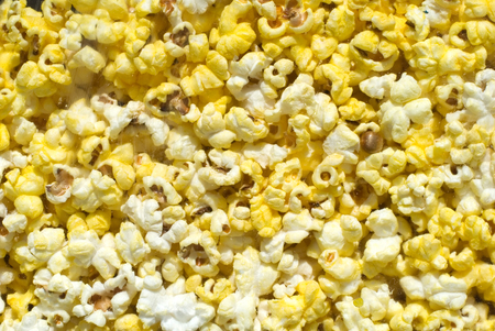 concession: This image shows Buttered Popcorn in a case Stock Photo