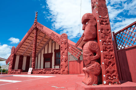 maori: This image shows a maori marae (meeting house and meeting ground) Stock Photo