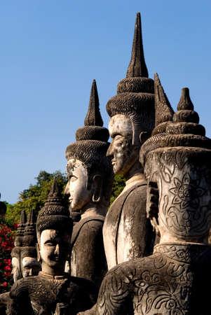 recline: This image shows the Buddha Park, Vientiane. Laos Stock Photo