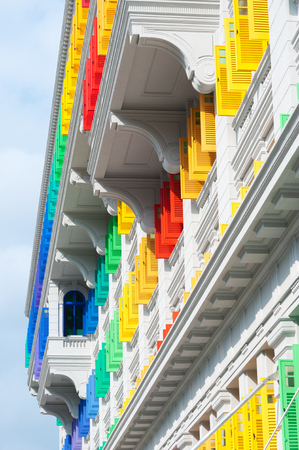 quay: This image shows Colorful window shutters at Clark Quay, Singapore
