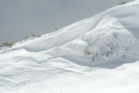 wind blown: This image shows a wind blown snow bank