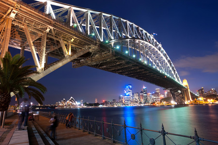 ports: This image shows the Sydney Skyline as seen from Milsons Point, Australia Stock Photo