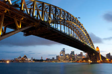 sydney harbour bridge: This image shows the Sydney Skyline as seen from Milsons Point, Australia Stock Photo