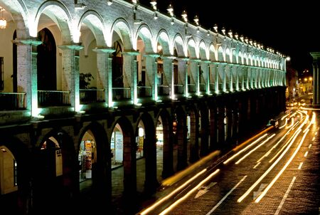 plaza de armas: This image was shot in Arequipa, Peru and shows the Plaza de Armas by night.
