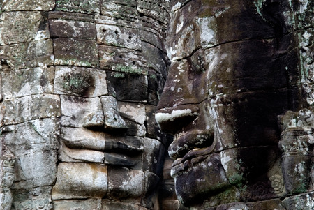 kampuchea: This image shows the faces of Bayon Temple, Angkor Wat Stock Photo