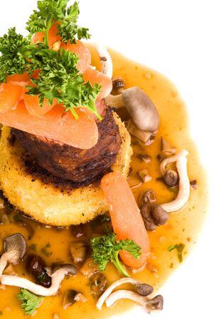 pork tenderloin: Gourmet Pork Tenderloin Tower Dish Stock Photo