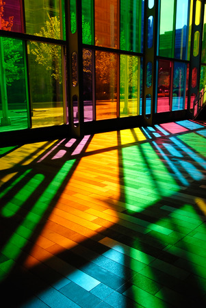 This image shows the Colorful Stained Glass Pattern (Palais des Congres - Montreal, Canada) Editorial