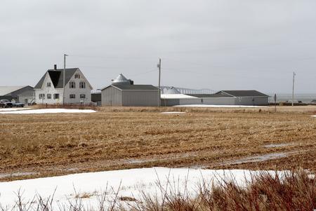 confederation: Questa immagine mostra una fattoria e Confederation Bridge Archivio Fotografico