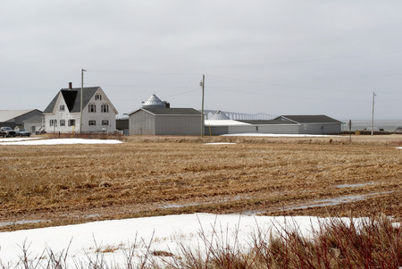 confederation: This image shows a Farm And Confederation Bridge Stock Photo
