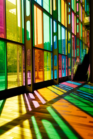 postmodern: This image shows the Colorful Stained Glass Pattern (Palais des Congres - Montreal, Canada) Editorial