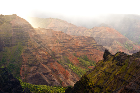 rock strata: This image shows the Colorful rock strata of Waimea Canyon - Kauai, Hawaii