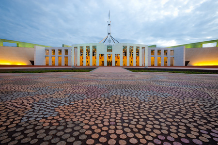 canberra: This image shows the Australian Parliament House in Canberra Stock Photo