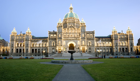 This image shows an Illuminated Parliament Building, in Victoria, Canada