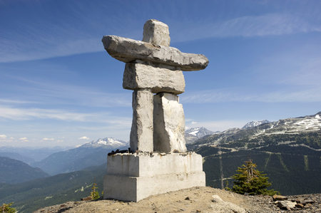 inukshuk: This image shows an Inukshuk on top of Whistler mountain, Canada. Editorial