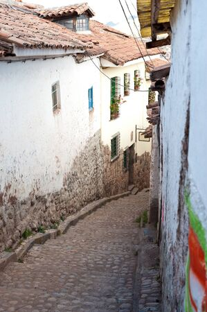 inca architecture: This image shows the streetspathways of Cusco, Peru
