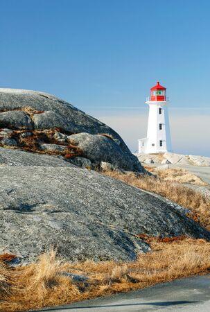 cove: This image shows Peggy`s Cove, Nova Scotia - Lighthouse Stock Photo