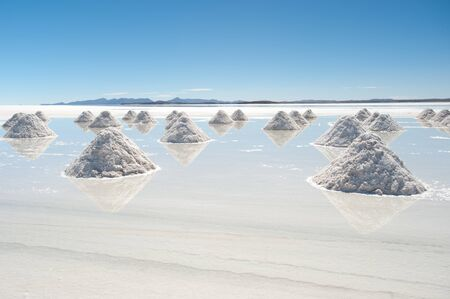 salar de uyuni: This image shows salt piles on Bolivias Salar De Uyuni Stock Photo