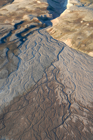 alluvial: This image shows an Alluvial fan in North-East Greenland. Stock Photo