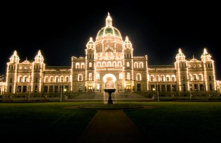 This image shows the Illuminated Parliament Building, Victoria, Canada