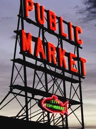 puget sound: This image shows Seattles Pike Place markets sign.