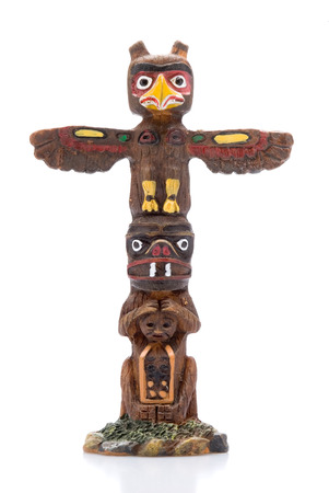 northwest indian art: This image shows an Isolated Totem Pole Statue