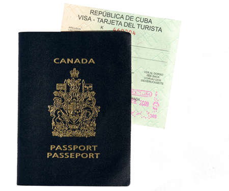 canada stamp: This image shows a Canadian passport with a Cuban Visa
