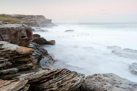 shore line: This image shows the shore line at Mahon Pool, Sydney, Australia