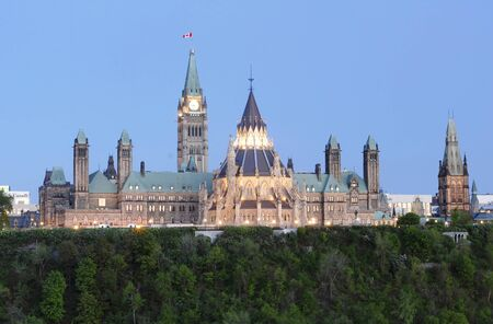 govern: This image shows Parliament Hill Canada at Dusk