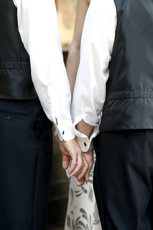 homosexual partners: This image shows two men holding hand displaying their wedding rings.