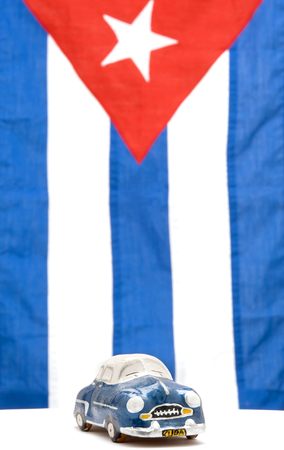 cuban flag: This image shows an iconic old car against the Cuban Flag