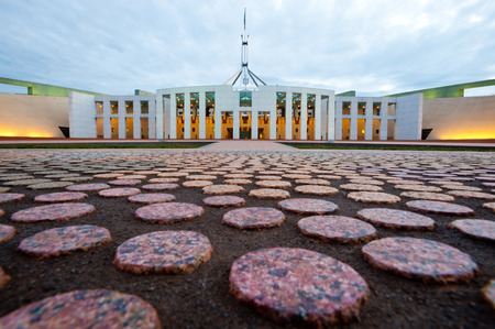 This image shows the Australian Parliament House in Canberra Stock Photo