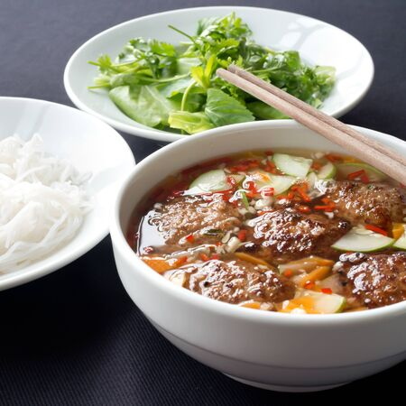 cha cha: This image shows Bun Cha, a Northern Vietnamese specialty. Stock Photo