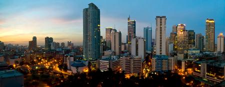 Deze afbeelding toont de gebouwen van Makati City, in Manilla, Filippijnen. Stockfoto