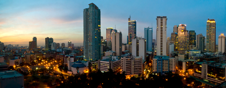 manila: This image shows the buildings of Makati City, in Manila, Philippines.