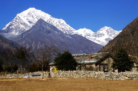 sherpa: This image shows a cabin near Namche Bazaar, Nepal. Stock Photo