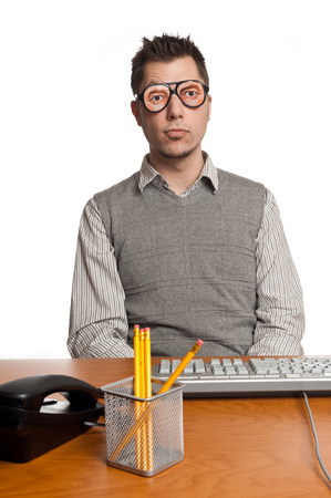 the novelty: This image shows an Office Worker with novelty glasses on Stock Photo